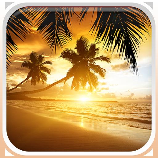 夕陽在海灘上動態壁紙 LOGO-APP點子
