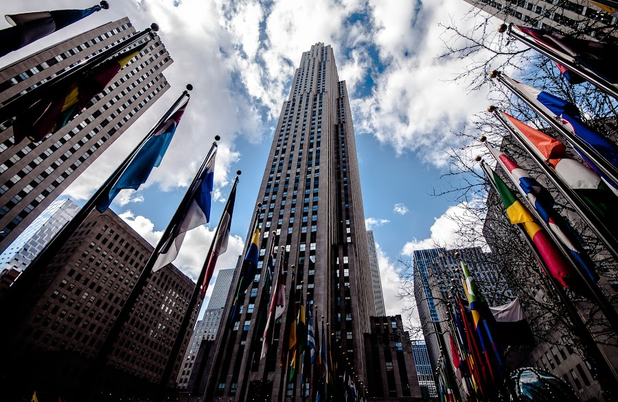 Flags at Rockefeller! by Ethan Fox Miles - City,  Street & Park  Historic Districts ( midtown, buildings, districts, nyc, architecture )