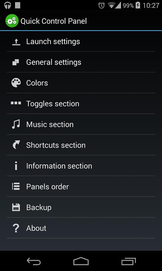 Quick Control Panel - screenshot