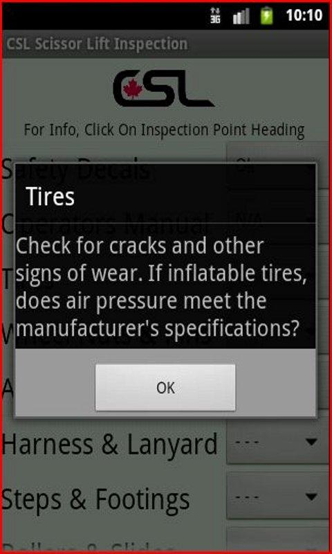 CSL ScissorLift Inspection App - screenshot