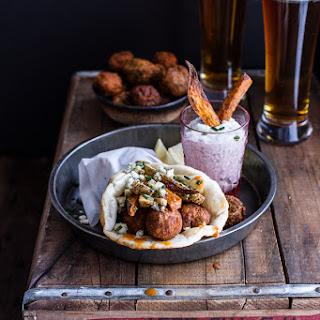 Buffalo Falafel and Garlic Blue Cheese Fry Pita's w/Ranch Style Tzatziki.