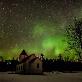 by David Johnson - Landscapes Starscapes ( winter, church, colorful, stars, northern lights, aurora borealis, snow )