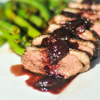 Peppered Duck Breasts with Cherry-Port Sauce.