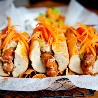 Merguez Dogs With Pickled Carrots And Cumin Aioli.