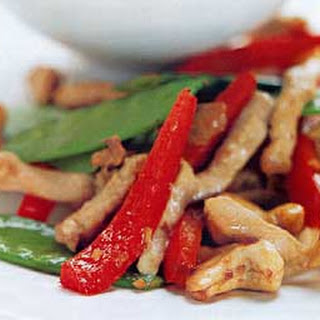 Spicy Pork and Cashew Stir-Fry with Snow Peas and Red Pepper