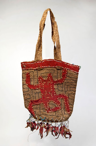 Bag for food, decorated with a human figure