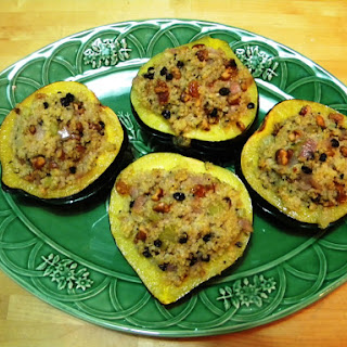 Acorn Squash Stuffed With Quinoa, Golden Raisins, Walnuts & Sage.