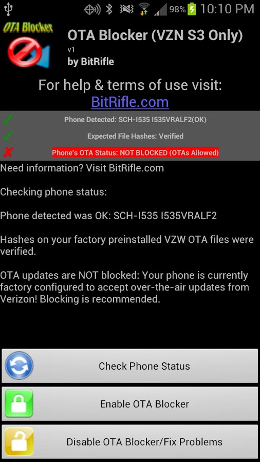 OTA Blocker ☆ VZW Galaxy S3- screenshot
