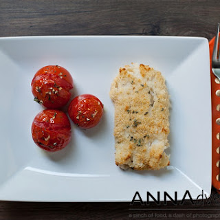Oven Fried Cod and Roasted Tomatoes with Herbs