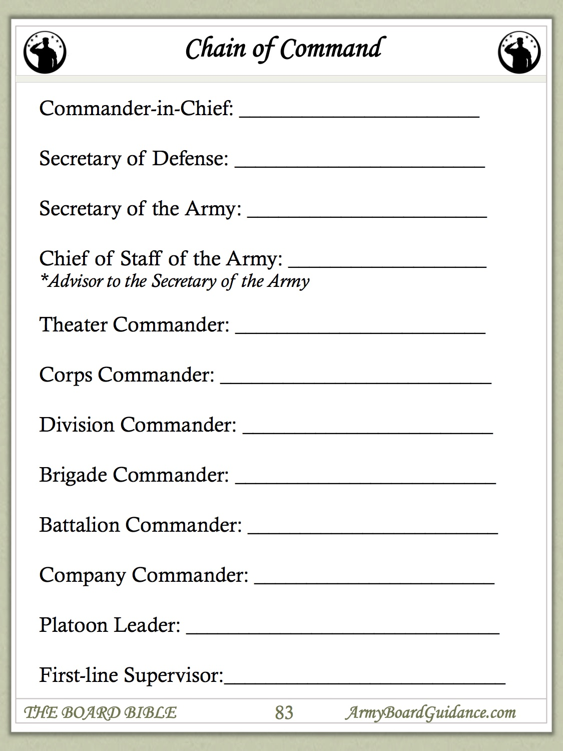 Uncategorized Army Promotion Worksheet chain of command worksheet army board guidance worksheet