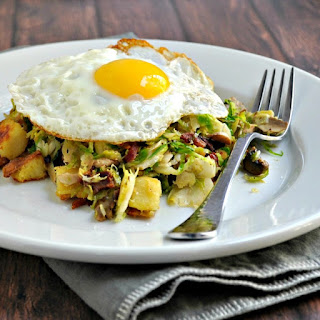 Sweet Potato, Brussels Sprout, Mushroom Hash with Bacon and Fried Egg Recipe