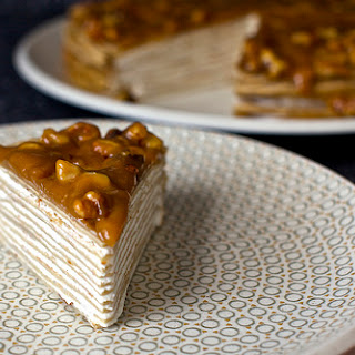 Banana Bread Crepe Cake With Butterscotch.