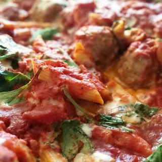Penne Meatball Ricotta Kale Bake