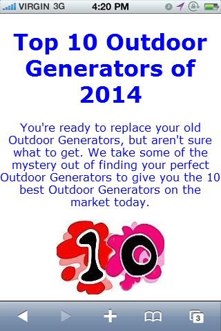Outdoor Generator Reviews