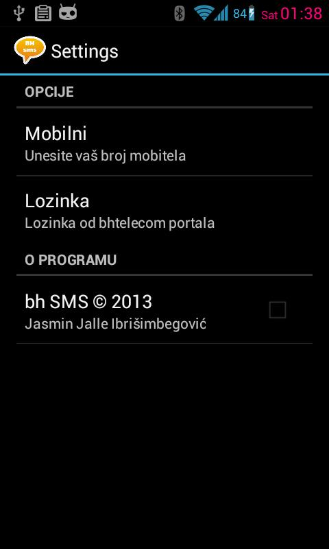 bhSMS - screenshot
