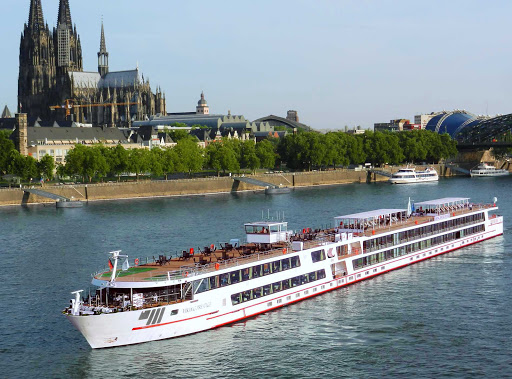 Viking Prestige sailing the Danube through historic Cologne, Germany. The ship also calls on Hungary, Austria and Slovakia.
