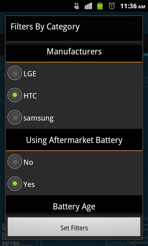 Battery Compare - screenshot