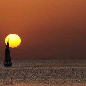 Untitled by Yana Villion - Landscapes Waterscapes ( water, water transportation, sunset, yacht, sea, seascape, transportation, boat, device, , golden hour, sunrise )