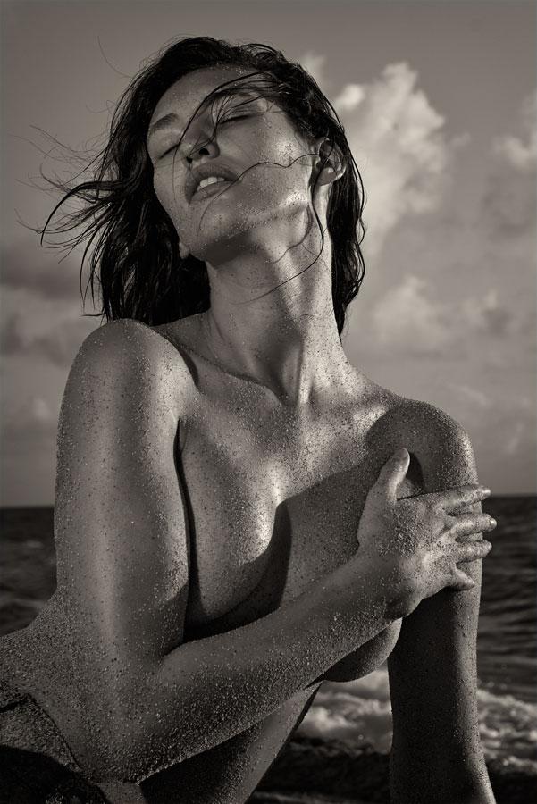 Joy by Natalia Artemieva - People Portraits of Women ( beautiful woman sand beach sunrise miami ocean wind, , woman, b&w, portrait, person )