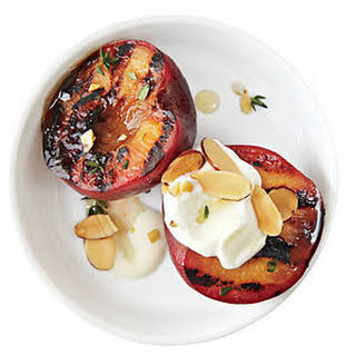 Honey Glazed Plums with Almonds and Crème Fraîche.