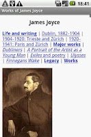 Screenshot of Works of James Joyce