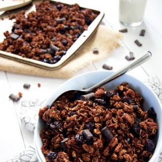 {Lightened Up} Dark Chocolate, Pecan and Chunk Cherry Granola