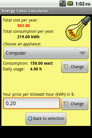 Energy Costs Calculator- screenshot
