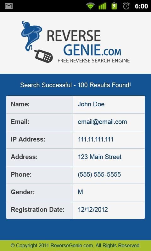 Reverse Genie - Phone & Email - screenshot
