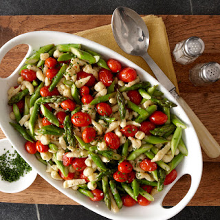 Chive and Cornmeal Spaetzle with Charred Grape Tomatoes and Asparagus