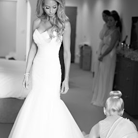 Finishing Touches by Kristin Cheatwood - Wedding Getting Ready ( black and white, dress, wedding, beautiful, bridesmaid, gown, bride )