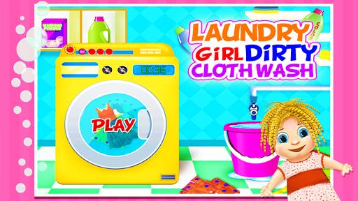 洗衣女孩脏布洗
