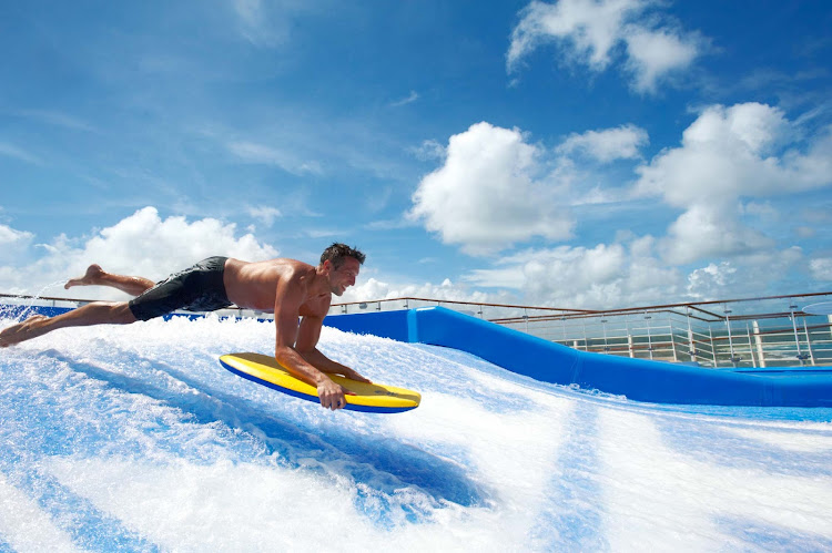 Dive into some fun action on the FlowRider aboard Oasis of the Seas.