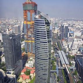 Bangkok metropolis by Waraphorn Aphai - Buildings & Architecture Office Buildings & Hotels ( bangkok, towers, metropolis, sathorn, skytrain )