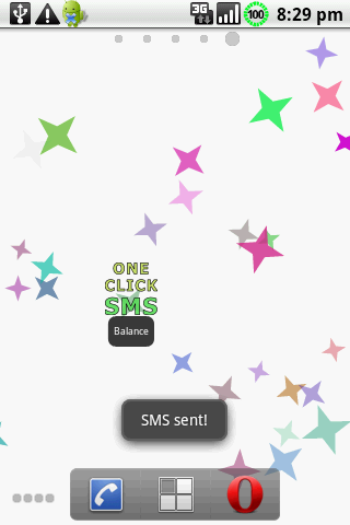 One Click SMS Demo - screenshot