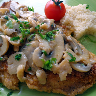 Quick Pork Schnitzels With Button Mushrooms