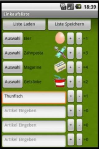 Einkaufsliste- screenshot