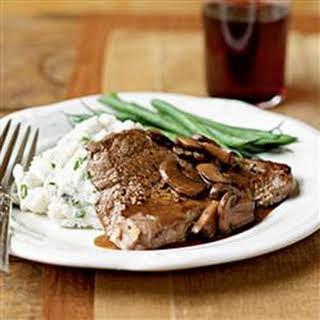 Steak with Mushroom Sauce.