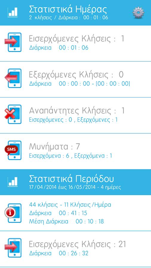 xLogger - ΣΤΑΤΙΣΤΙΚΑ ΚΛΗΣΕΩΝ - screenshot