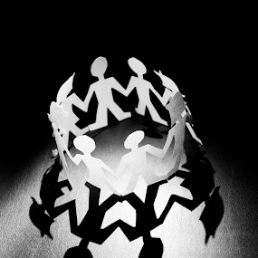 Circle of love and friendship by Nina Kriznic - Artistic Objects Other Objects ( lights, b&w, black and white, shadow, circle, light, shadows,  )
