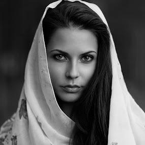 :) by Miroslav Trifonov - People Portraits of Women ( black and white, woman, beauty, portrait )