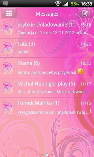 GO短信Pro的可愛的粉紅色