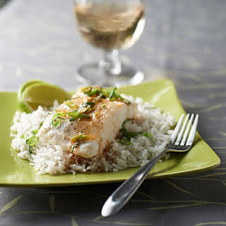 Steamed Halibut with Sesame-Lime Sauce and Coconut Rice.