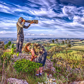 Chasers of Wonders by Odilon Simões Corrêa - People Street & Candids ( clouds, photographers, hills, hdr, colors, horizon, observers, vegetation, landscape, wonders, sky, nature, landscapes, chasers )