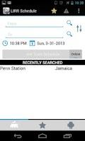 Screenshot of LIRR Train Schedule