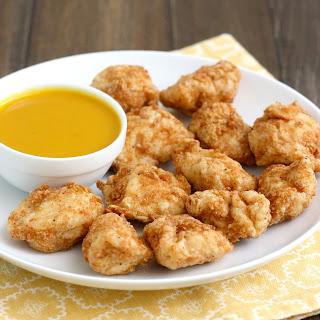 Homemade Chicken Nuggets with Honey-Mustard Sauce.