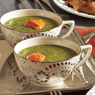 Fennel and Spinach Soup with Roasted Pepper Yogurt