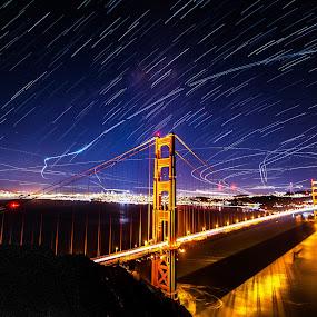 Golden Gate Light Show by Gary Piazza - City,  Street & Park  Night ( lights, golden gate bridge, night, ocean, planes, san francisco, startrails, span, , #GARYFONGDRAMATICLIGHT, #WTFBOBDAVIS )