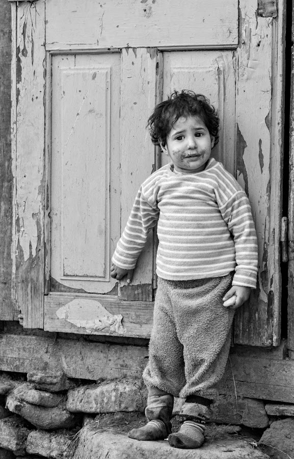 Black & white childhood by Diana Toma - Babies & Children Toddlers ( child, poverty, rural, eyes )