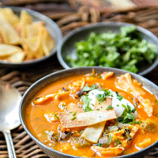 Chicken Tortilla Soup with Hatch Chiles.