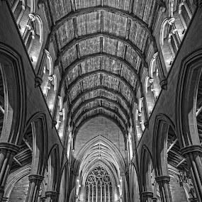 The Church by Gaz Haywood - Buildings & Architecture Places of Worship ( interior, building, church, hdr, black and white, architecture, worship, mono, bolton,  )